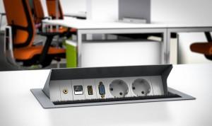 Tischeinbaufelder mit HDMI Bild Tisch Anschlussfeld im Konferenzraum